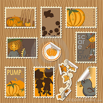 Collection of postal stamps - Pumpkins