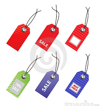 Collection of price tags.