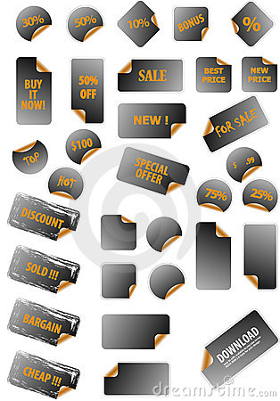 Collection of promotion labels.