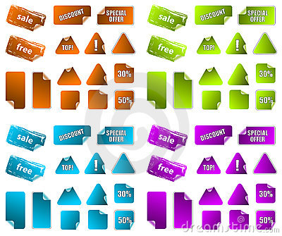 Collection of promotion marketing labels.