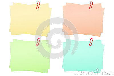 Collection of real note papers with paper clip on