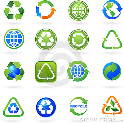 Collection of recycle icons and logos