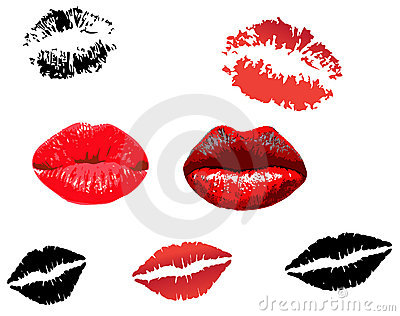 Collection of red lips print