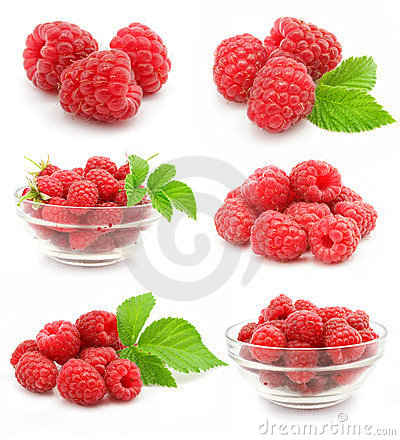 Free Collection Red Raspberry Fruits Isolated Royalty Free Stock Images - 5698929
