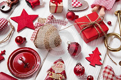 Collection of red and white checkered christmas decoration on wo Stock Photo