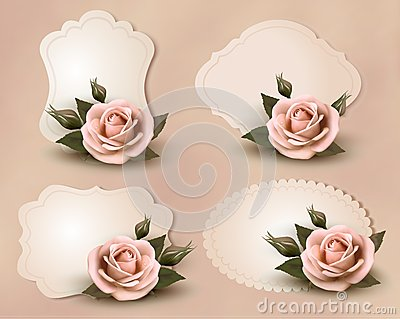 Collection of retro greeting cards with pink rose
