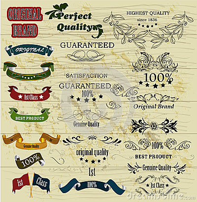 Collection of retro labels best, original genuine and high quali