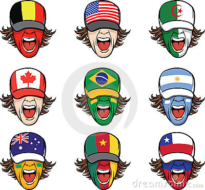 Collection of screaming faces with flags on caps