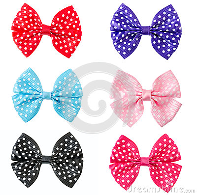 Collection set of colorful ribbon bows