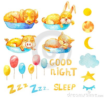 Collection set sleeping animals balloons, moons in different phase, text Zzz. Good night. Stock Photo