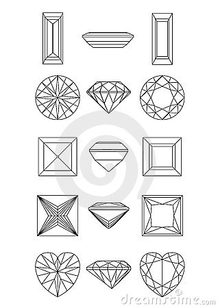 Collection  shapes of diamond. Wirefram