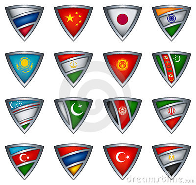 Collection shield with flag of the Asia