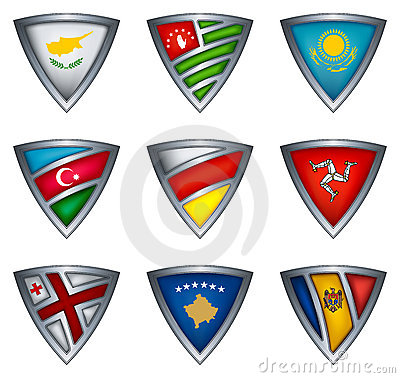 Collection shield with flag of the europe