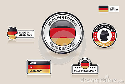 Collection of six Made in Germany Labels, Badges and Stickers