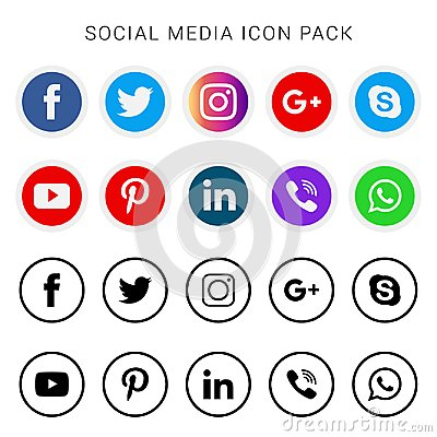 Collection of social media icons and logos Editorial Stock Photo