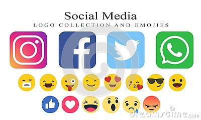 Collection of social media logos and emojies Editorial Stock Photo