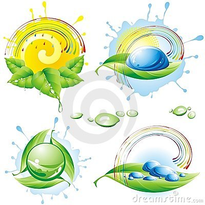 Collection of spring eco-icons.