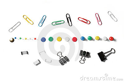 Collection of stationary isolated on white.