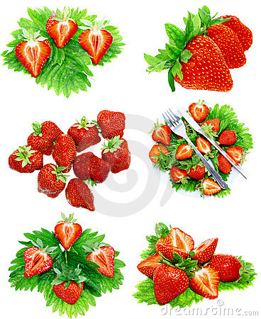 Collection of strawberries on white. Isolated