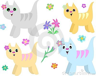 Collection of Striped Cats and Flowers