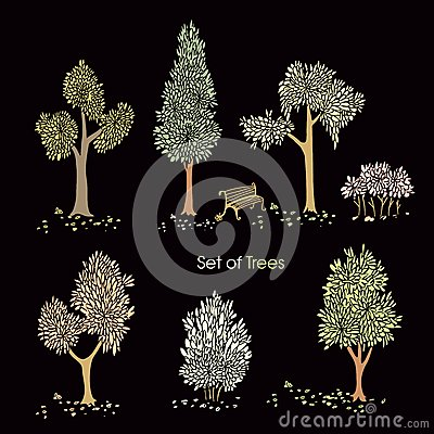 Collection of stylized trees