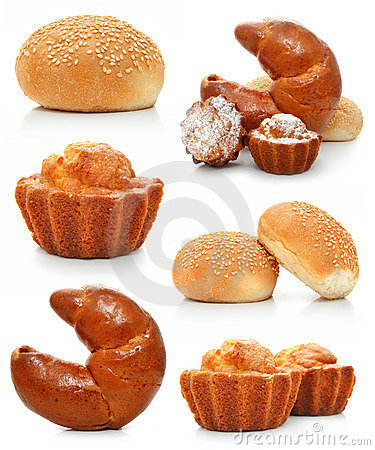 Collection of sweet fancy cakes and croissant
