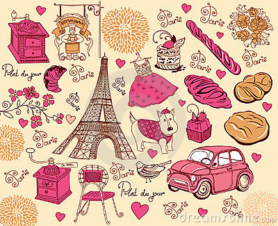 Collection of symbols of Paris.