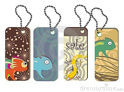 Collection tags with cute reptiles
