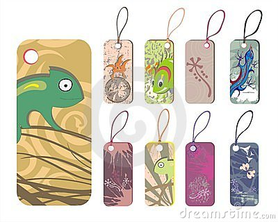 Collection  of tags with reptiles