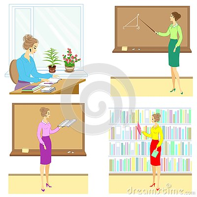 Collection. Teacher at the lesson at school. A woman reads a book, a notebook, shows a pointer to the board, sits at a table, in Cartoon Illustration