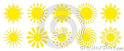 Set Of Ten Yellow Graphic Sun Icons Stock Photo