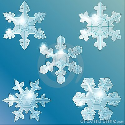 Collection Of Transparent Glass Snowflakes Stock Photo - Image: 21515230