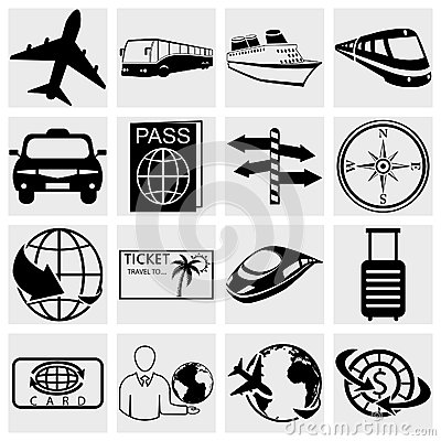Travel and tourism icon set. Simplus series. Vecto