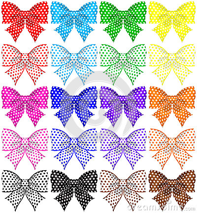 Collection of twenty polka dot bows