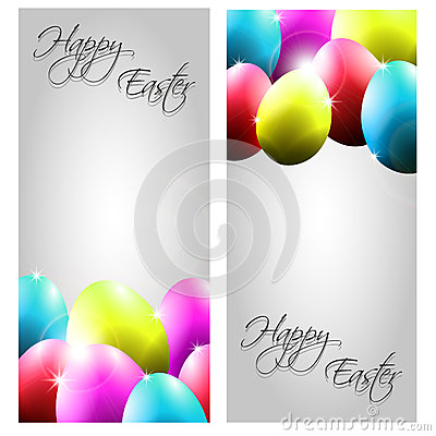 Vector Collection of Two Easter Cards with Colorfu