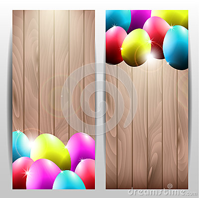 Collection of Two Vector Easter Cards with Colorfu