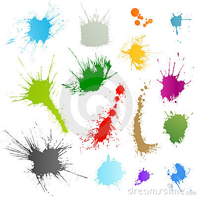 Collection of various ink splatter symbols
