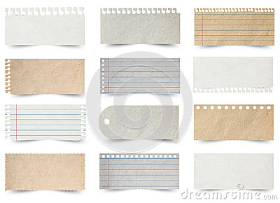 Collection of various note papers