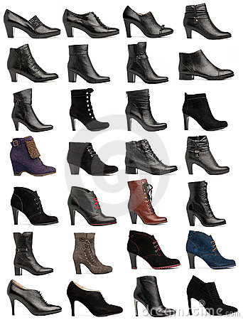 collection of various types of female shoes royalty free