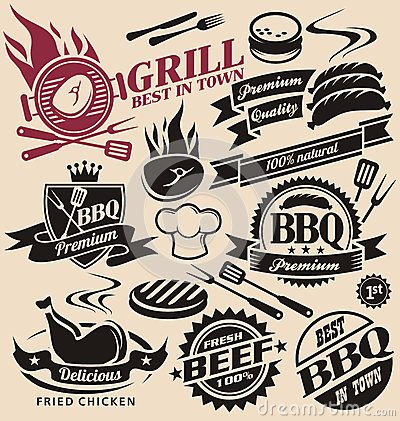 Collection Of Vector Grill Signs Symbols Labels And