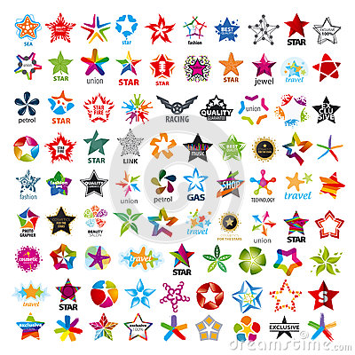 Collection Of Vector Logos Stars Stock Vector - Image: 44075700