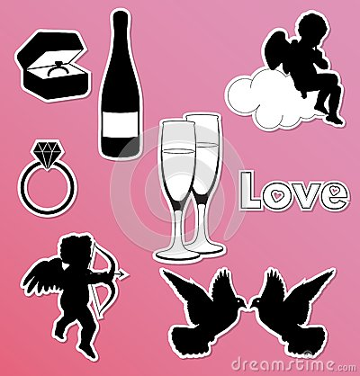 Collection of vector Valentine icons