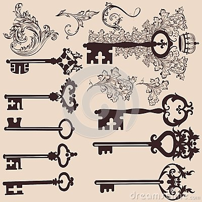 Collection of vector vintage  keys for design