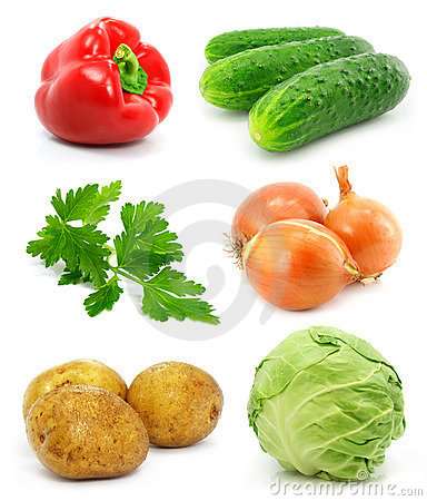 Collection of vegetable fruits isolated on white