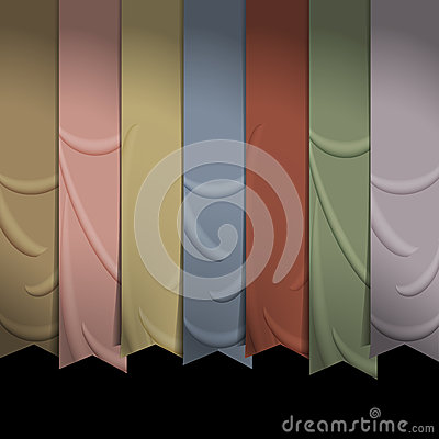 Collection of vertical ribbons for design