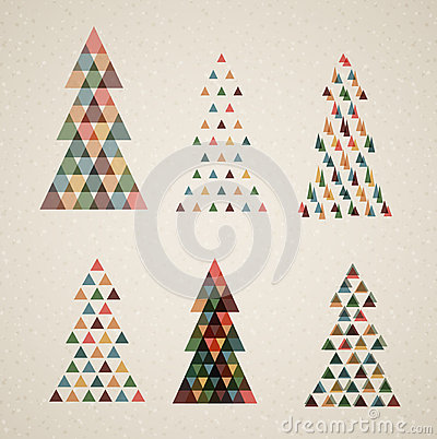 Collection of Vintage retro vector Christmas trees