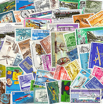 Collection of vintage transportation stamps from d
