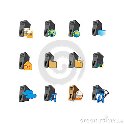 Collection Web server icon symbol