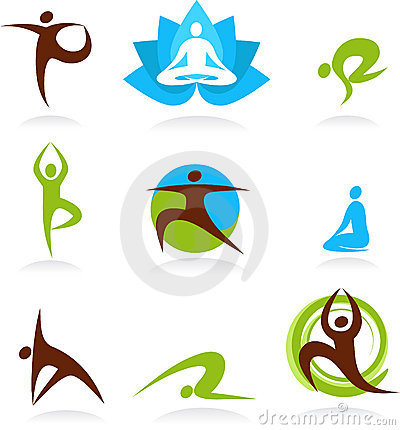 Set Of Yoga Logos. Silhouettes Of Girls In Yoga Poses. Stock ...