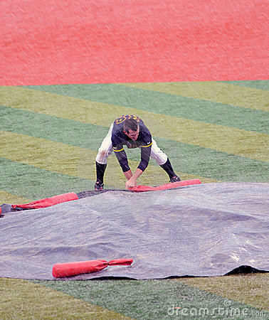 College baseball rain or hail delay Editorial Stock Photo